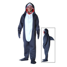 Men's Shark Costume Hoodie Halloween Gray White Adult Jumpsuits Animal Costumes Sharks Cosplay Role Playing Colthing With Spine