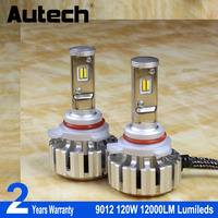 Autech 1 Pair 9012 CSP Chips 120W Led Headlight Car Auto All In One LED Headlight