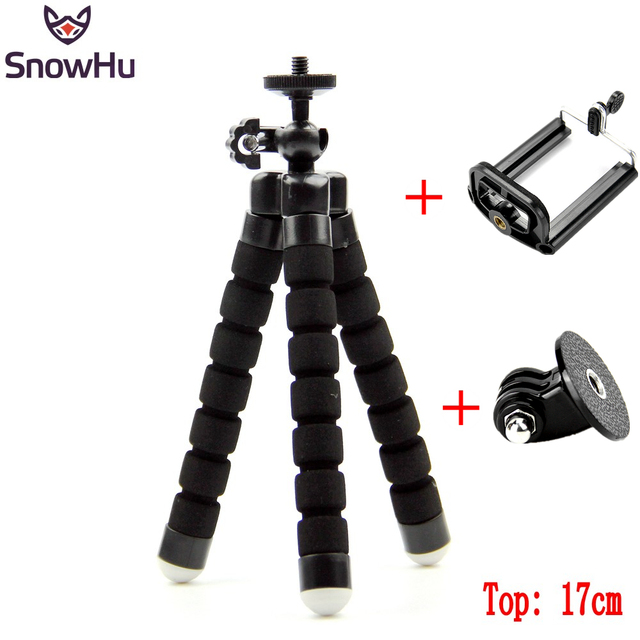 SnowHu For GoPro Flexible Mini OctopusTripod With Screw Mount Adapter For Go Pro Hero 7 6 5 4 3+ For Xiaomi yi SJCAM Camera LD06