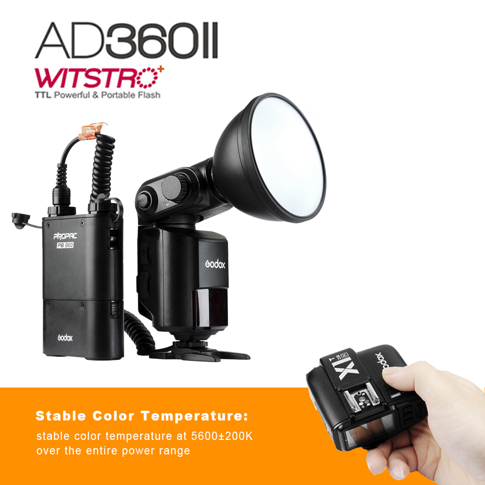 Godox Witstro AD360 AD360II-N TTL Camera Flash Speedlite for Nikon +PB960 Battery Pack + X1T-N TTL Flash Trigger Transmitter godox v860iic v860iin v860iis x1t c x1t n x1t s hss 1 8000s gn60 ttl flash speedlite 2 4g transmission godox softbox filter