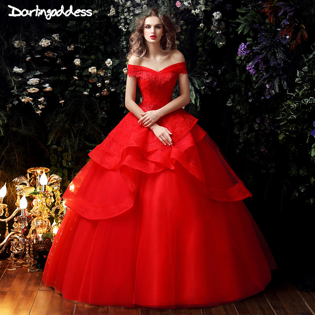 Real Photos Red Bridal Dresses 2017 Princess Lace Ball Gown Cheap ...