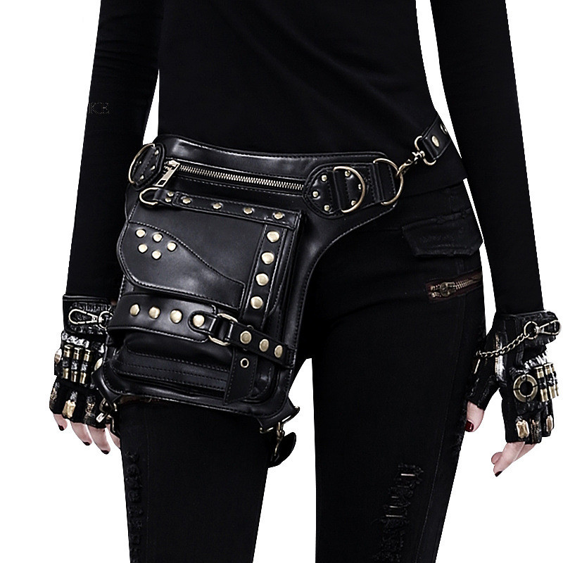 Leather Unisex Waist Pack Leg Drop Bags Motorcycle Crossbody Messenger Shoulder Belt Bum Hip Purse Pouch Thigh Fanny Bags image
