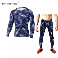 2017 New Fitness Men S Clothing Set Compression Men S T Shirt Shirt Pants Fitness Tight