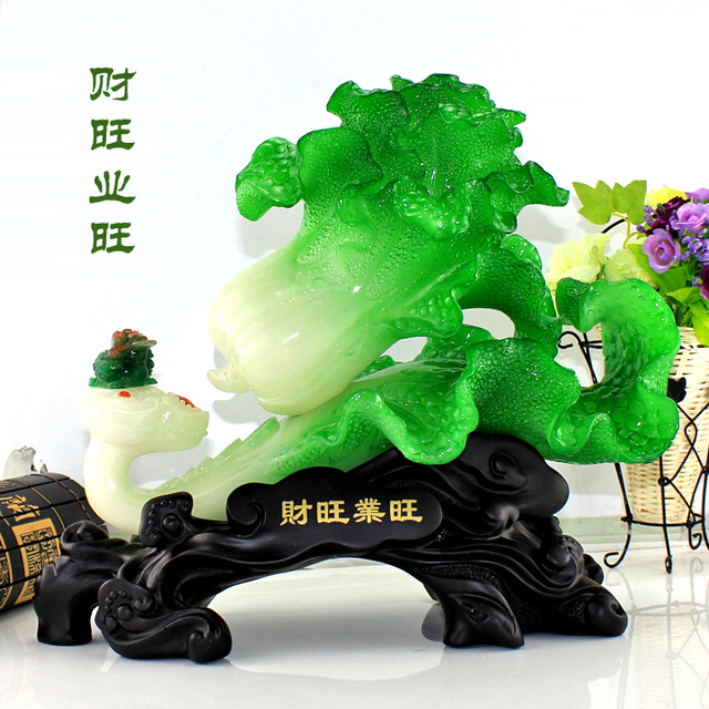 Lucky jade cabbage decoration Large toad opening gifts crafts home decoration
