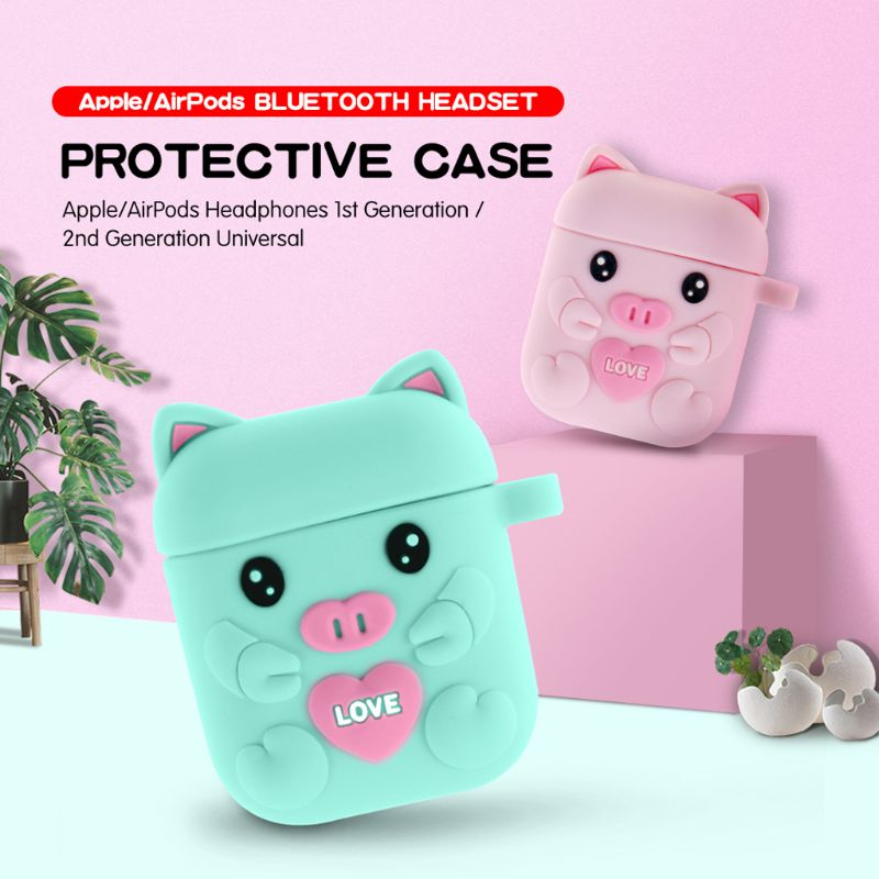 Fashion Cute Cartoon Pig Soft Silicone Protective Cover Shockproof Case Skin For Airpods 1/2 Charging Box