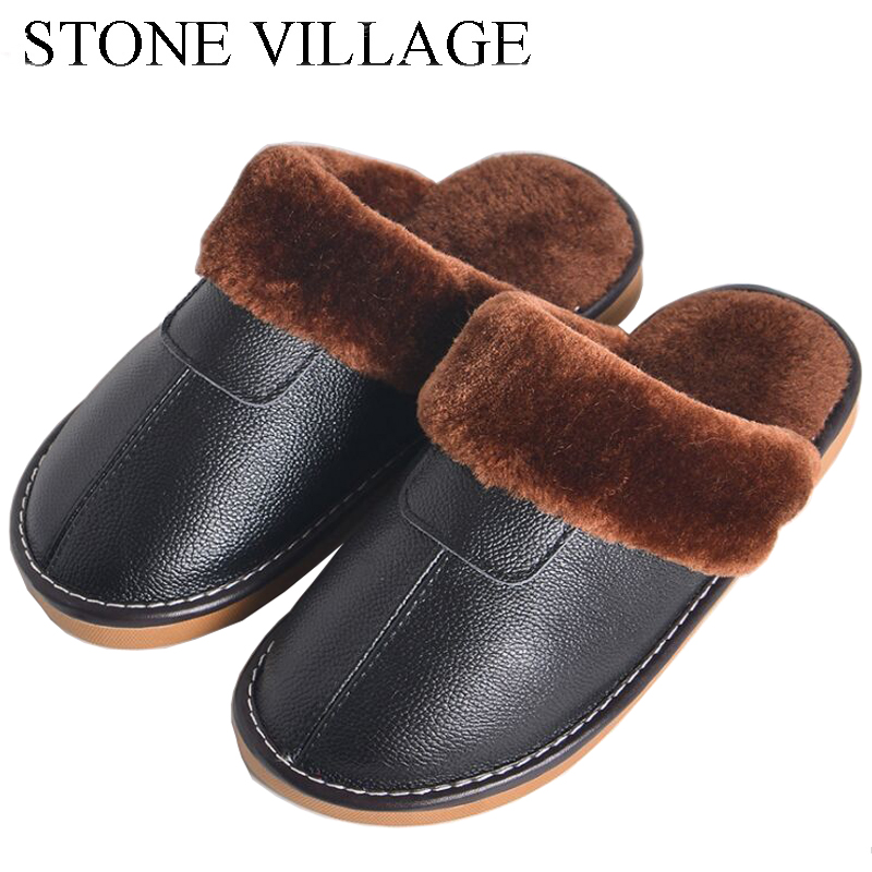 7 Colors New Genuine Leather Slippers Winter Warm Plush Slipper Men And Women Non-Slip Lovers Home Slippers Cotton Indoor Shoes fashion autumn and winter indoor home lovers cotton drag floor plush slippers female slip resistant
