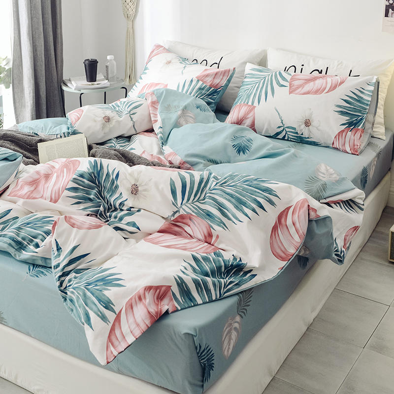 Floral PrintUltra Soft 100%Cotton Twin Queen Bedding Set King  size Bed Fitted sheet Kids Girls Bed set Duvet cover PillowcasesBedding  Sets
