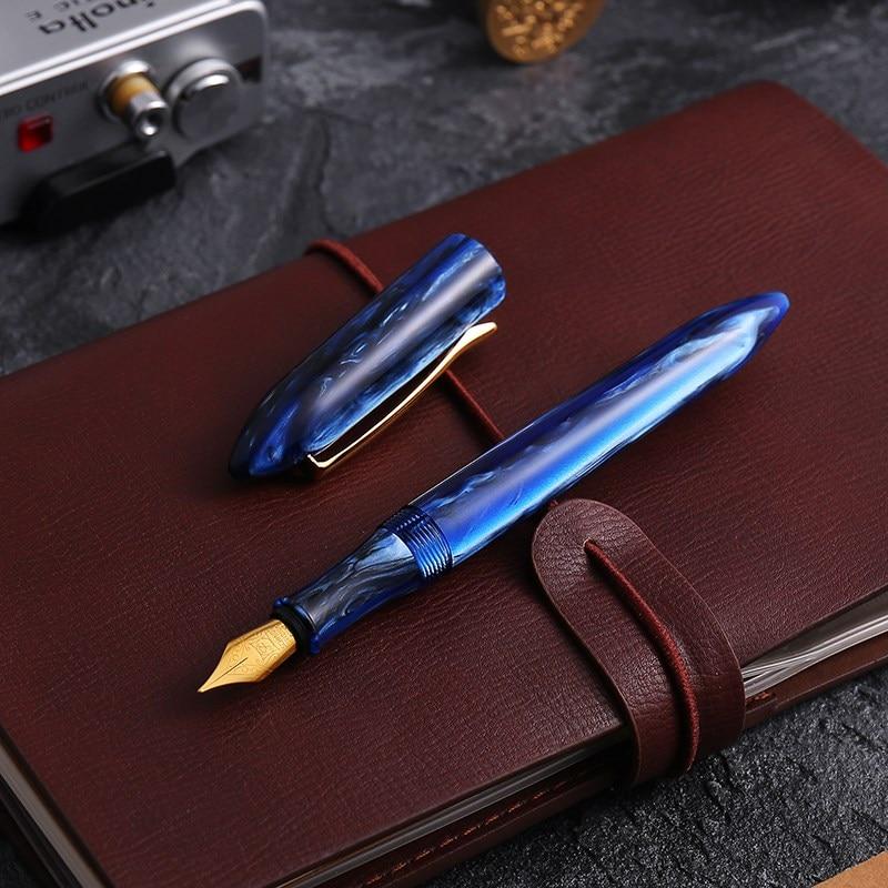 цена на LIY (Live In You) MITU Acrylic Resin Creative Fountain Pen Schmidt Smooth Fine 0.5mm Ink Pens Gold Trim Writing Gift Pen Set