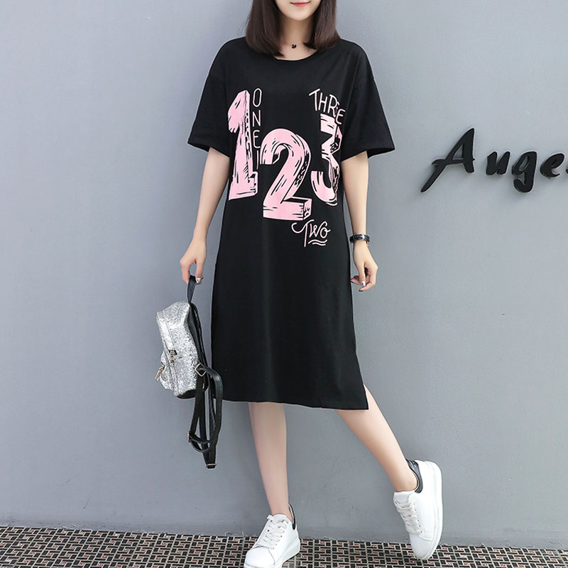 XL- 5XL plus size woman clothes black long t-shirt oversized short sleeve O-neck tshirt long tops cute casual loose t shirt big