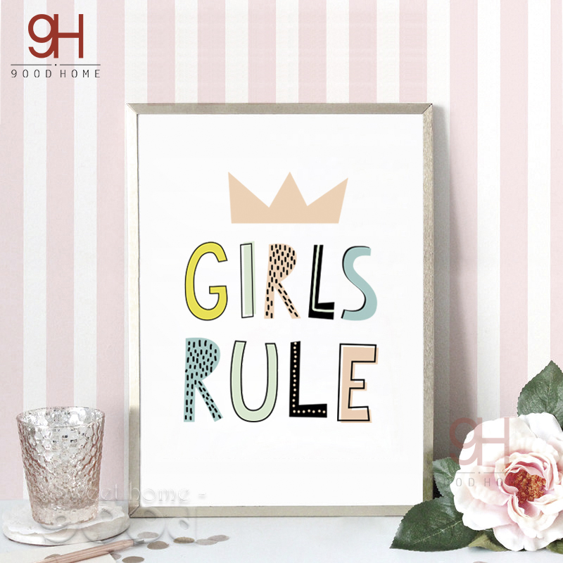 Cartoon girls rule quote canvas art print poster wall for Girls room wall decor