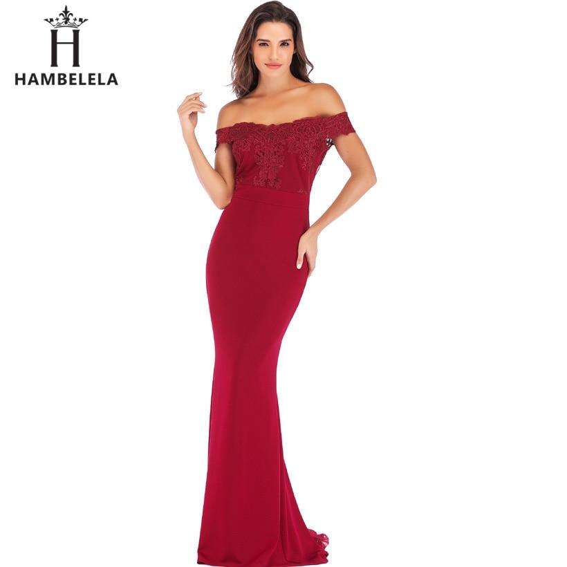 HAMBELELA 2019 Vestido Sereia Strapless Mangas Laço Cor de Rosa Vestido de Festa de Casamento Longo Maxi Vestidos de Dama de Honra Baratos Sob 50
