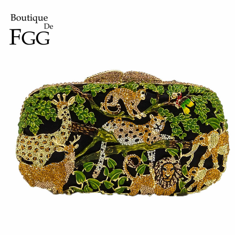 Boutique De FGG Rain Forest Jungle Kvinnor Crystal Animal Zoo Kväll Väskor Dam Diamond Party Handväska Bridal Wedding Clutch Bag