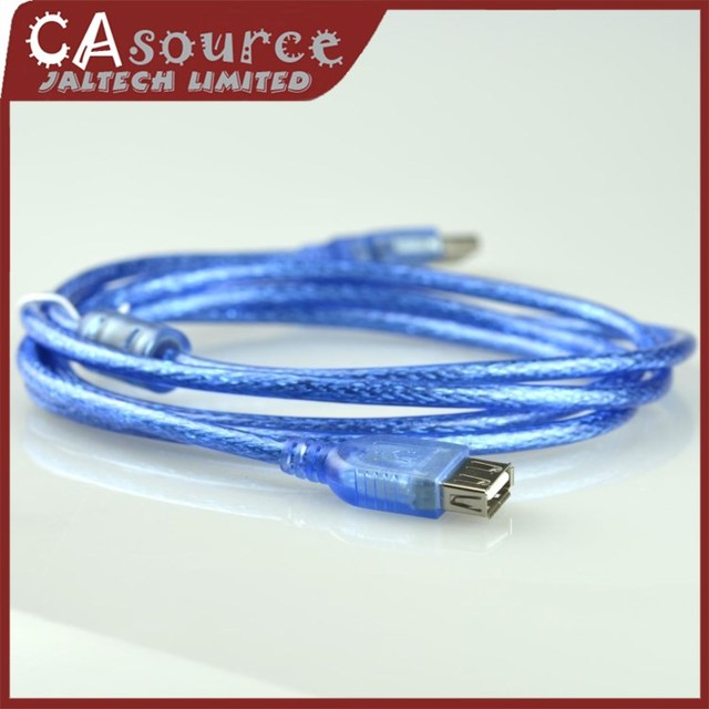 High Quality New Blue 1.8M USB 2.0 Extension Cable with Shielding Male to Female Magnet Ring Data Cord 10Piece/lot Free Shipping