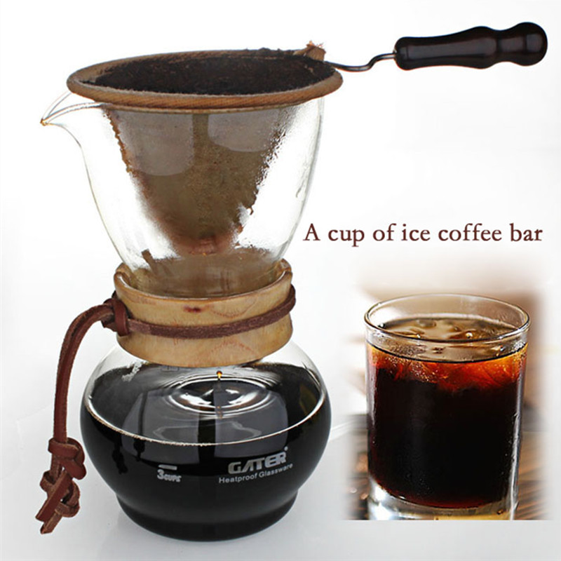 480 cc glass Drip Pot Woodneck Espresso coffee tool suit / high quality flannel bags manually drip coffee drip hand pot ice tool