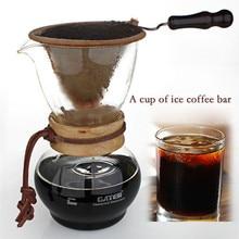 480 cc glas eine tragbare stahl kaffeekanne kombination anzug/hohe qualität flanell taschen manuell drip coffee drip topf eis werkzeug
