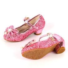 ULKNN Princess Kids Leather Shoes For Girls Flower Casual Glitter Children  High Heel Girls Shoes Butterfly d3ba686d5f21