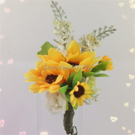New 6pcs fabric artificial sunflower plant grass boutonniere prom wedding church decor corsage flower pin yellow fl1748 in artificial dried flowers new 6pcs fabric artificial sunflower plant grass boutonniere prom wedding church decor corsage flower pin y