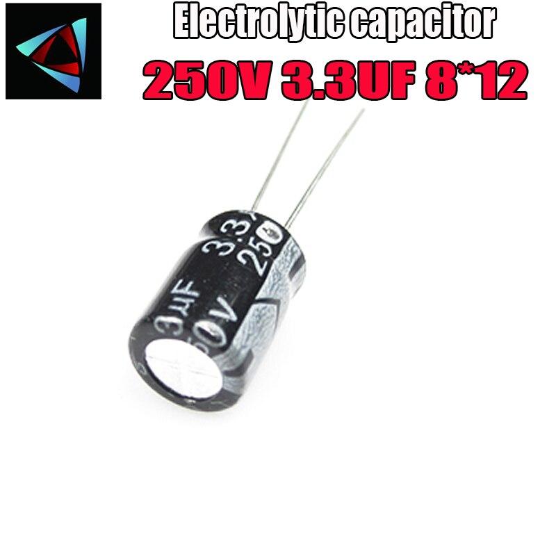 14PCS Higt Quality 250V 3.3UF 8*12mm 3.3UF 250V 8*12 Electrolytic Capacitor