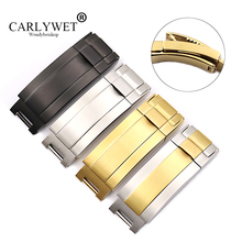 CARLYWET 9mm x 9mm סיטונאי 316L מוצק מתכת נירוסטה שעון להקת Glide Flip נעילת פריסת אבזם אבזם עבור Deepsea