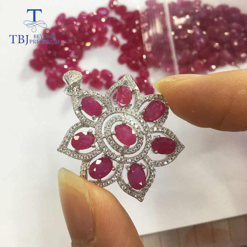 TBJ,S925 silver pendant with natural ruby and iolite stone necklace pendant,best gift for engagement gift women,party daily wear