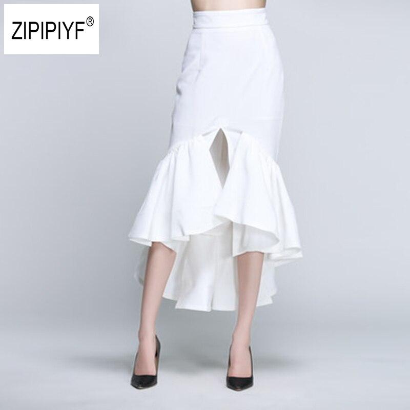 New Fashion Sexy Women Split Spring Summer Skirts Ruffles Irregular Hem Elegant Office Lady Party Memaid Bodycon Skirt B1083