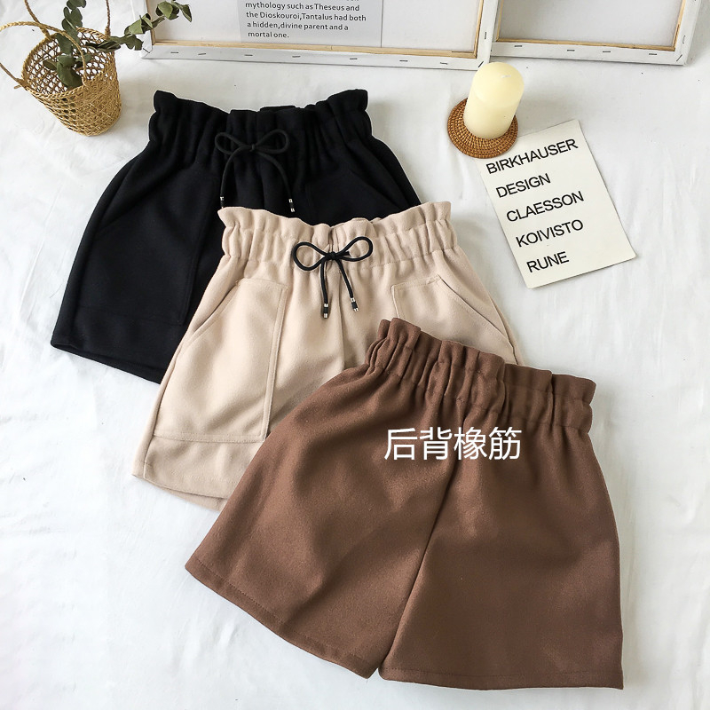 New Women Shorts Autumn and Winter High Waist Shorts Solid Casual Loose Thick Warm Elastic Waist
