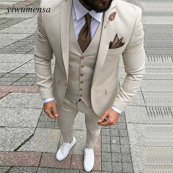 Costume Homme Mariage Wedding Suits For Men Trajes Para Hombre Groom Blazer Suits Ivory Suit Man Custom Made Tuxedo 3 Pieces - DISCOUNT ITEM  44 OFF Men\'s Clothing