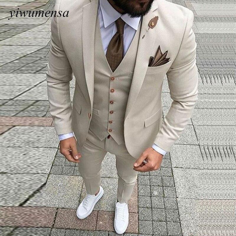 Erkek Kıyafeti'ten T. Elbise'de Kostüm Homme Mariage Düğün Takımları Erkekler Için Trajes Para Hombre Damat Blazer Takım Elbise Fildişi Takım Elbise Adam Custom Made Smokin 3 parça'da  Grup 1