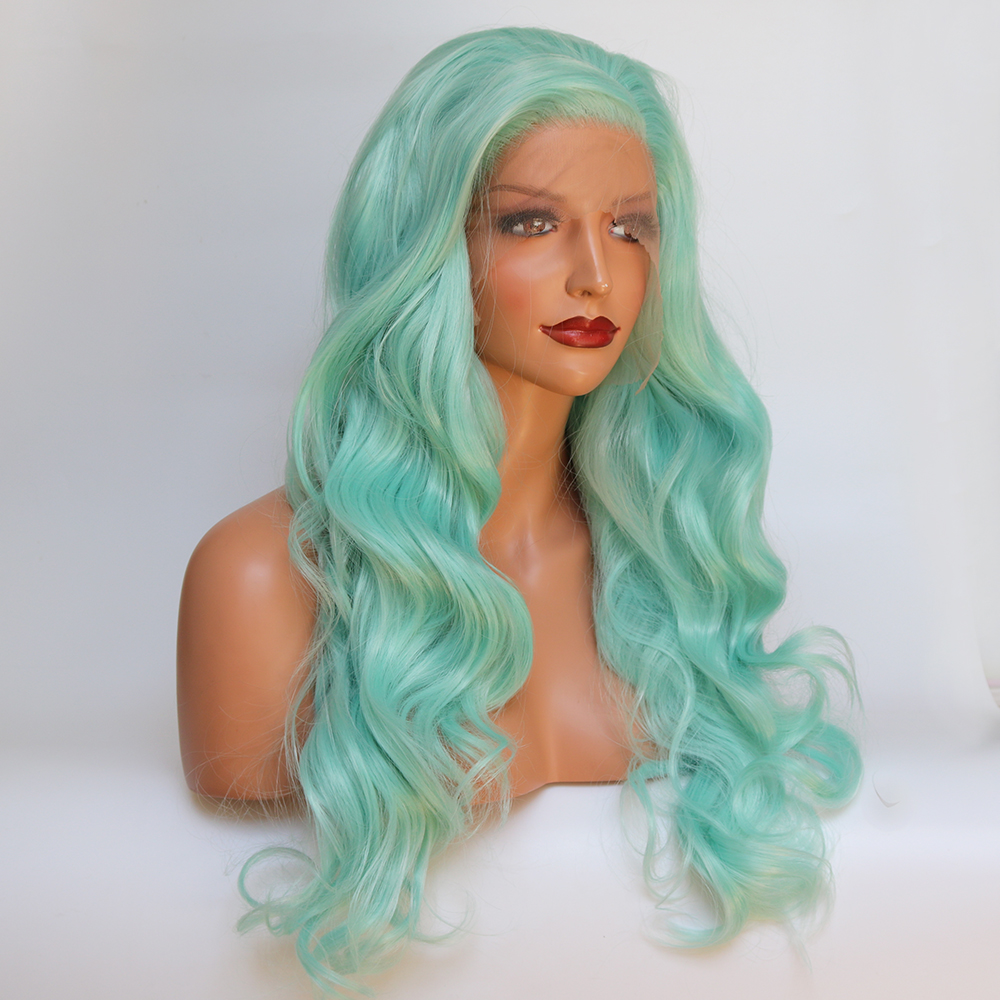 Fantasy Beauty Glueless High Temperature Heat Resistant Fiber Hair Long Wavy Mint Green Synthetic Lace Front
