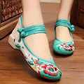 Women Shoes Old Beijing Mary Jane Flats With Casual Shoes Chinese Style Embroidered Cloth shoes woman Plus Size34- 41 D-R001-D