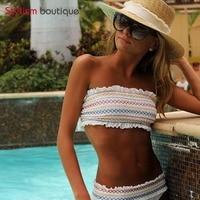 Stylism Boutique 2018 Striped Printed Bandeau Bikinis Set Ruched Swimsuit Ruffles Swimwear Women Sexy Bathing Suit