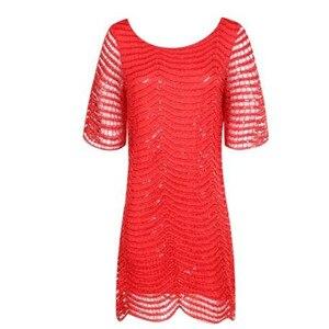 Image 3 - Haoduoyi De nieuwe vrouwen Fashion leuke slim Losse Hollow out Wave Pailletten Jurk Vijf Mouwen Rechte Jurk