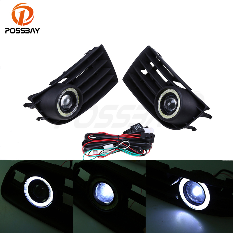 POSSBAY Front Bumper Grille Grill DRL Daylights LED Fog Lamp Lights for VW Golf/Variant/4Motion 2003-2009 Angel Eyes Lights white fog light grille foglamps grill cover for vw golf rabbit mk5 2003 2009 with hardness switch h3 bulbs p98