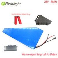Тип кадра 36 В 50Ah треугольник e велосипед батарея 36 Вольт литий ионный аккумулятор для 1000 Вт электрический велосипед для sanyo ячейки