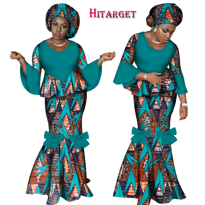 2019 African Dresses for Women 2 Pieces Skirt Set African Wax Print Traditional Clothing Dashiki Crop Top and Skirt Sets WY2461 in Women 39 s Sets from Women 39 s Clothing