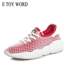 E TOY WORD White sneakers women Spring Summer Casual Shoes Breathable Mesh Flat Shoes Woman Trainers Shoes Tenis feminino e toy word fashion women casual shoes printed mesh breathable women shoes lace up flat shoes women sneakers tenis feminino
