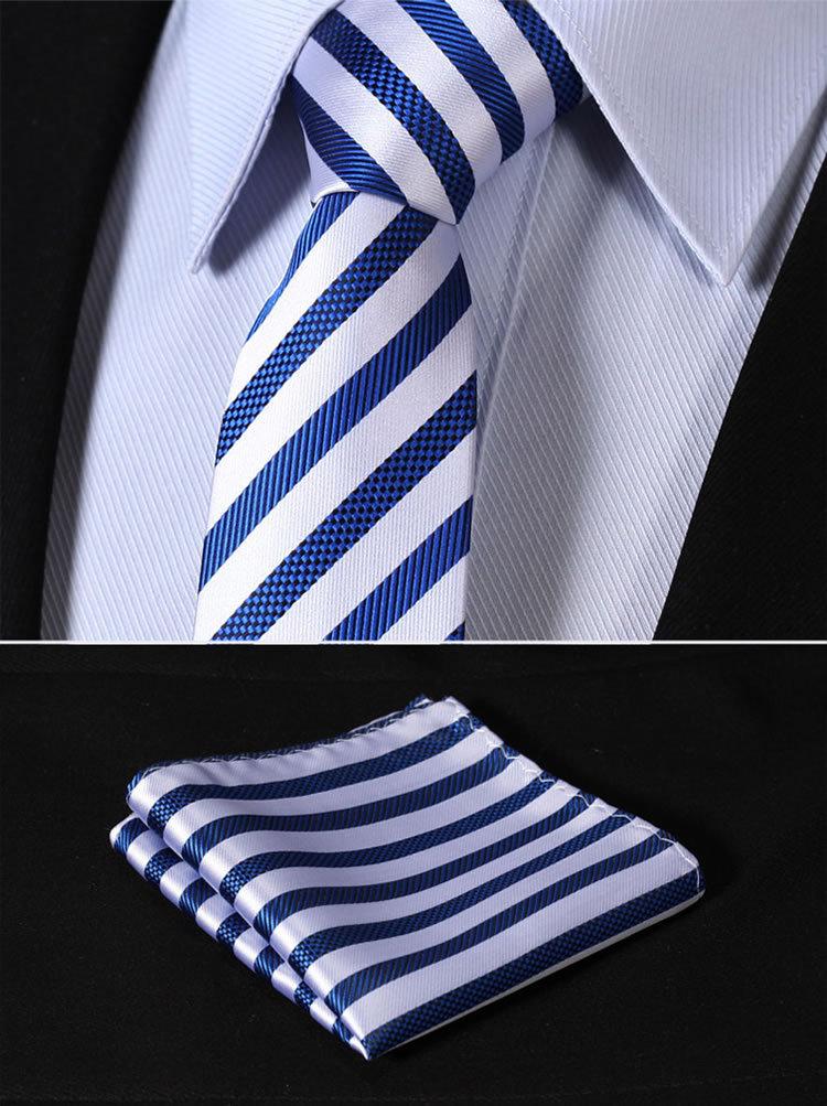 "TS2007B7 Blue Silver Stripe 2.75"" 100%Silk Woven Slim Skinny Narrow Men Tie Necktie Handkerchief Pocket Square Suit Set"