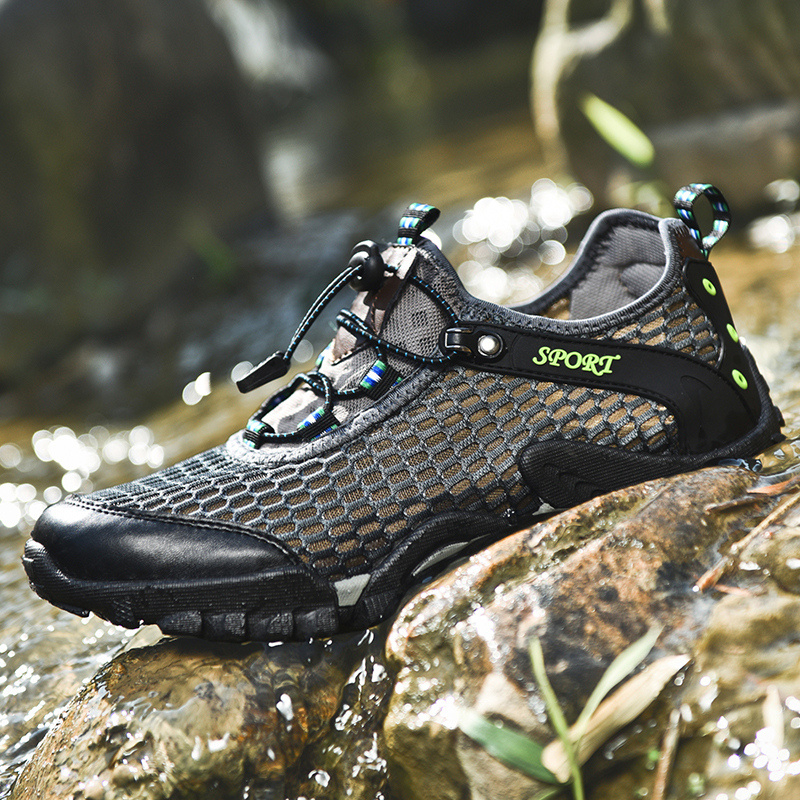 Outdoor Water Shoes for Men Anti-Slip PVC Aqua Slippers Wading Walking Breathable Mesh Sneaker
