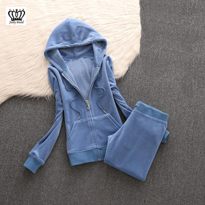 Image 5 - 2020 da marca das mulheres de veludo tecido agasalho calças ternos veludo terno mulher treino 2 peças hoodies e calças azul