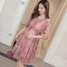 Лето материнства беременных женское платье корейский цветочный Мода для беременных шифоновое платье для беременных Новинки для женщин