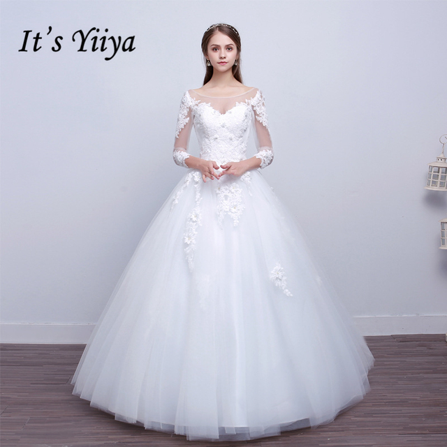 It s Yiiya Sales Off White Three Quarter Sleeve O-Neck Wedding Dresses  Flower Pattern Appliques Sexy Illusion Wedding Frock X070 206de4b8cf2e