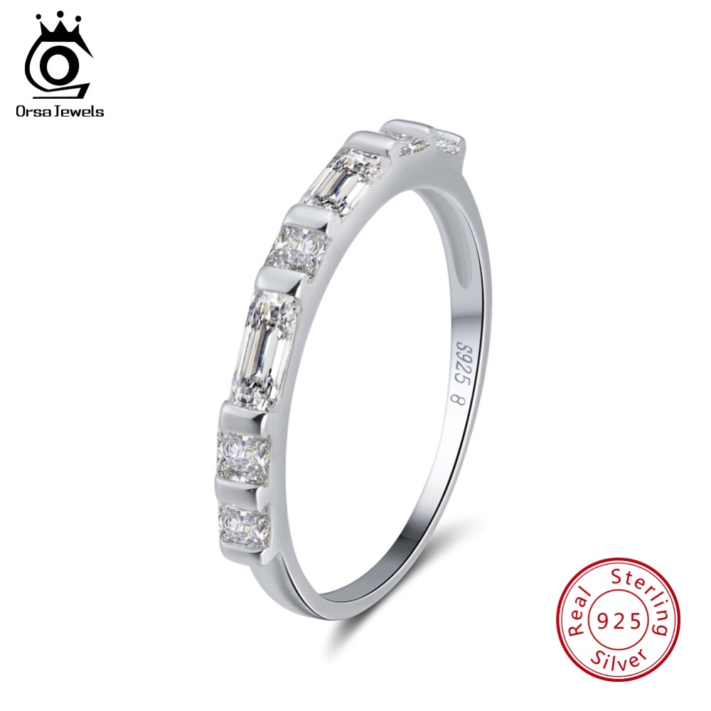 ORSA JEWELS Genuine 925 Sterling Silver Rings For Women AAA Cubic Zircon Clear Square Crystal Romantic Ring Jewelry Gift OSR66