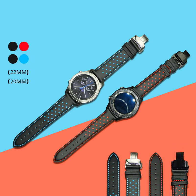 все цены на 20/22mm Wrist Strap For Huawei Watch 2Pro Genuine Leather Band Butterfly Clasp Strap For Samsung Gear S3 S2 Classic Frontier онлайн