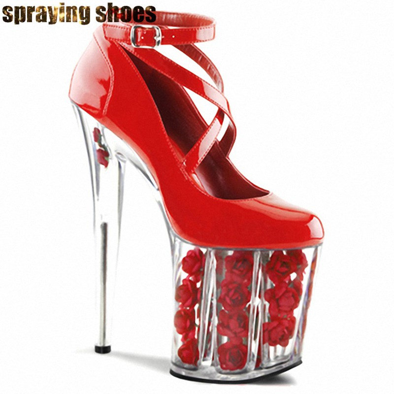 <font><b>20CM</b></font> Transparent Blume Ferse Frauen High <font><b>Heel</b></font> Pumps Kreuz Strappy Hohe Plattform Sexy Damen Pole Dance Party Schuhe Stiletto <font><b>heels</b></font> image