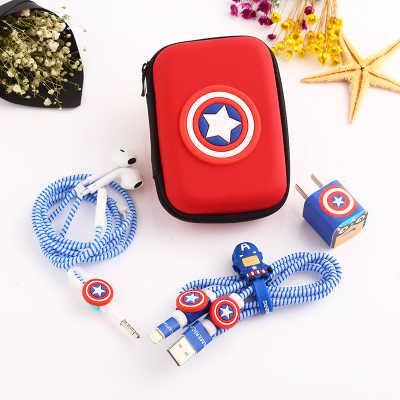 Cable USB con dibujos animados conjunto Protector de auriculares con caja de auriculares Cable enrollador con pegatinas Protector de Cable espiral para iphone 5 6 6s 7 8plus