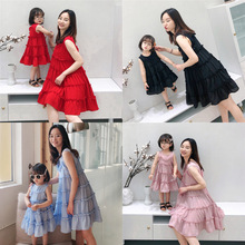 2019 Summer Mommy and me Chiffon Sleeveless Dresses Family M
