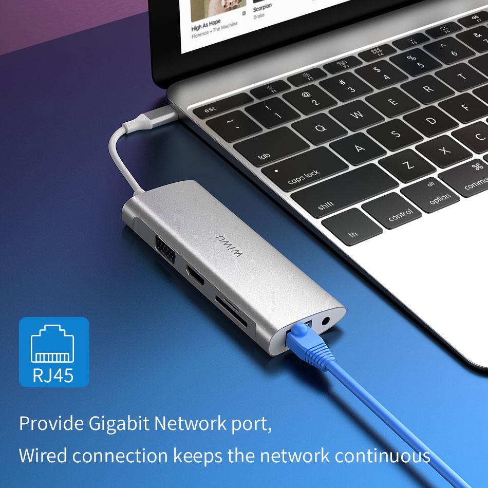 Image 4 - WIWU Multi USB Hub for MacBook Pro 11 in 1 USB Adapter Dock Charging Type c Hub HDMI RJ45 VGA USB Splitter 3.0 for Huawei P30/20-in USB Hubs from Computer & Office