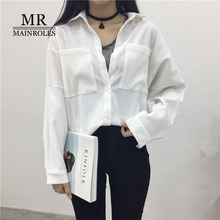 MAINROLES New Tops Autumn Series Blouse White Shirt Solid Blouse Leisure POLO Collar Shirt Corduroy Long-Sleeved  Cottons Shirt