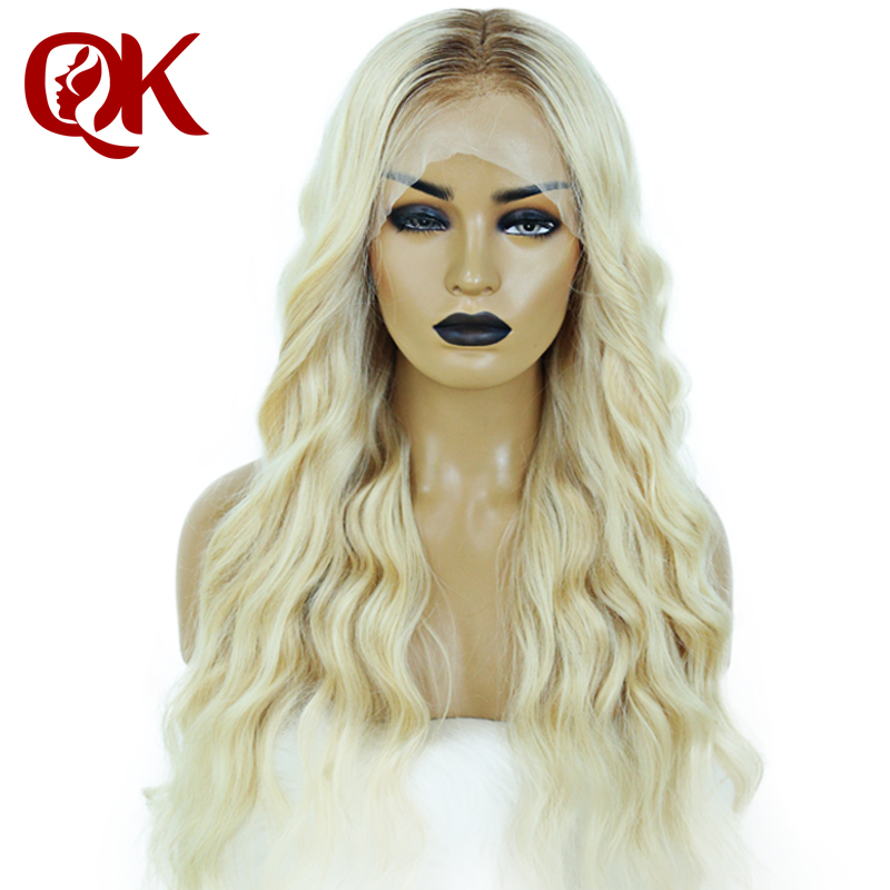 QueenKing Hair Front Lace Wig 180% Density Ombre Color  Ombre Wigs T6/613 Brazilian Remy Hair Free Shipping Overnight