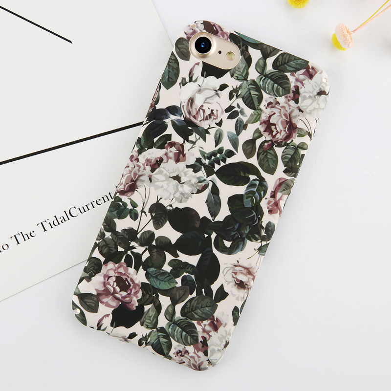 Ottwn Floral Flower Paint Phone Case For iPhone 6 Rose Daisy Green Leaves Cases Hard PC Full Back Cover For iPhone 6s 7 8 Plus in Fitted Cases from Cellphones Telecommunications